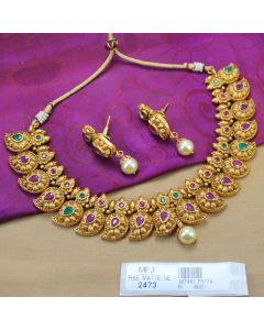 Ruby Emerald Stones Mat Finish Flowers Mango Design With Pearls Drop Necklace Set Buy Online