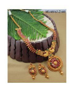 Ruby Emerald Stones Peacock Flowers Leaves Design Mat Finish Haram Set Buy Online12919