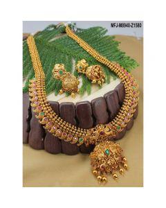 Ruby Emerald Stones Peacock Mango Design Mat Finish Haram Set Buy Online12919