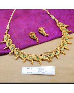 Ruby Emerald Stones Peacock Design Mat Finish Necklace Set Online