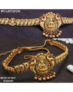 Ruby Emerald Stones With Balls Drops Lakshmi Flowers Peacock Design Mat Finish Hip Belt Buy Online12919