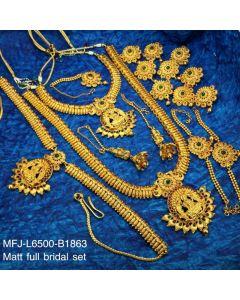 Rubyemerald Stones With Gold Balls Lakshmi And Mango Design Matt Finished Full Bridal Set Buy Online12919