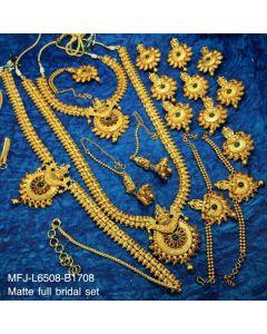 Ruby Emerald Stones With Golden Balls Lakshmi Design Matt Finished Full Bridal Set Buy Online12919