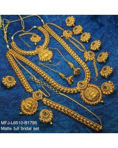 Ruby Emerald Stones With Golden Balls Lakshmi With Mango Design Matt Finished Full Bridal Set Buy Online12919