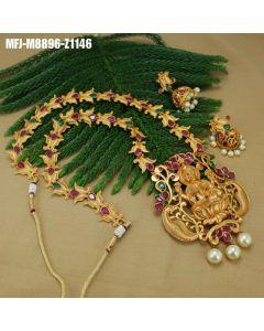 Ruby Emerald Stones With Pearls Drop Lakshmi Design Mat Finish Haram Set Buy Online12919