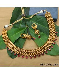 Ruby Stones Balls Design Mat Finish Choker Necklace Set Buy Online