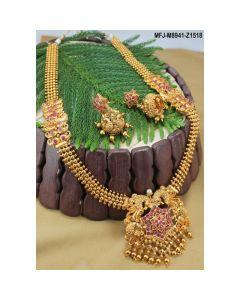 Ruby Stones Peacock Flowers Mango Design Mat Finish Haram Set Buy Online12919