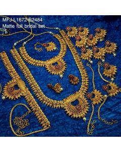 Ruby Stones With Pearl Drops Flower And Mango Design Matt Finished Full Bridal Set Buy Online12919