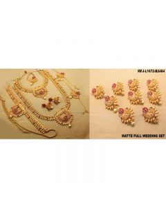Ruby Stones With Pearls Flowers Leaves Design Mat Finish Combo Bridal Set Buy Online12919