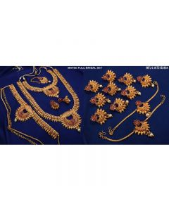 Ruby Stones With Pearls Flowers Design Mat Finish Combo Bridal Set Buy Online12919