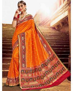 Orange Silk Patola Printed Border and Pallu Saree with Weaving