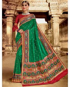 Green Silk Patola Printed Border and Pallu Saree with Weaving