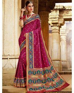 Wine Purple Silk Saree with Woven Buttis and Patola Print Border and Pallu