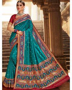 Teal Blue Silk Traditional Woven Saree with Patola Print Border and Pallu