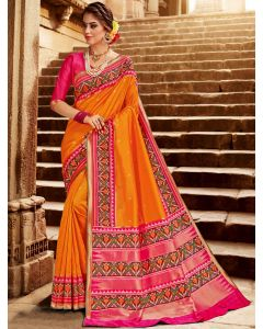 Orange Silk Traditional Woven Saree with Patola Print Border and Pallu