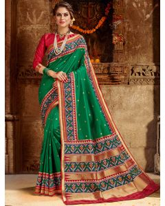 Green Silk Traditional Woven Saree with Patola Print Border and Pallu