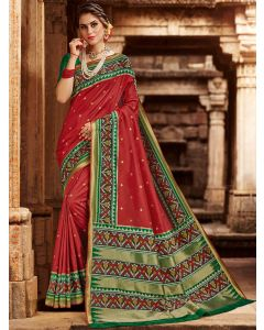 Maroon Silk Traditional Woven Saree with Patola Print Border and Pallu