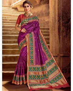 Magenta Pink Silk Traditional Woven Saree with Patola Print Border and Pallu