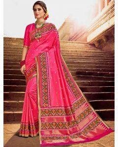 Pink Silk Traditional Woven Saree with Patola Print Border and Pallu