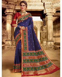 Blue Silk Traditional Woven Saree with Patola Print Border and Pallu