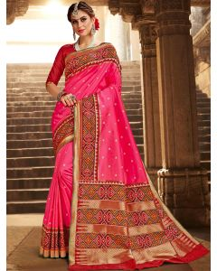 Pink Silk Traditional Saree with Contrast Woven Patola Print Border and Pallu