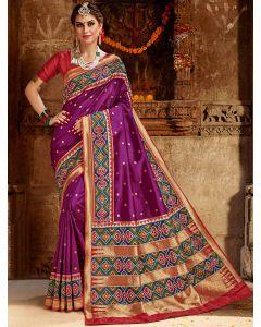 Magenta Pink Silk Traditional Saree with Contrast Woven Patola Print Border and Pallu