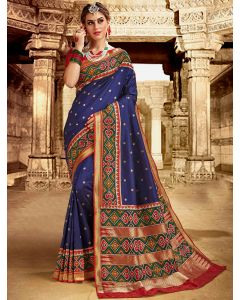 Blue Silk Traditional Saree with Contrast Woven Patola Print Border and Pallu
