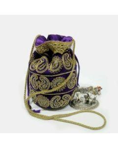 Mini Velvet Potli With Zari Design/Kamadhenu Gold Colour/avvu dooda