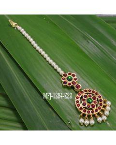 Single Line Pearl Beads Temple Head Set Kempu Stones Head Set Dance Jewelry Online