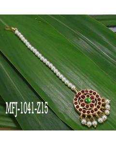 Single Line Pearl Beads Temple Head Set Kempu Stones Head Set Dance Jewelry Online1
