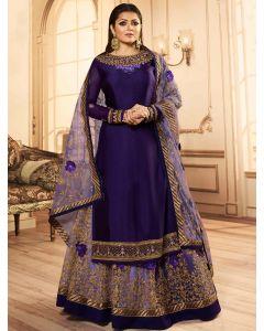 Drasti Dhami Purple Georgette Floral Embroidered Straight Cut Designer Lehenga Suit