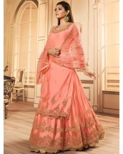 Drasti Dhami Peach Net Stone Worked Designer Straight Cut Lehenga Suit