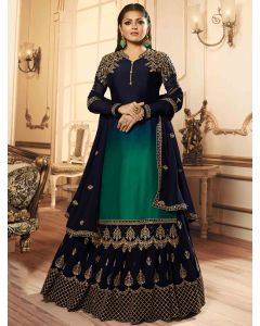 Drasti Dhami Green and Blue Georgette Satin Straight Cut Floral Embroidered Designer Lehenga Suit