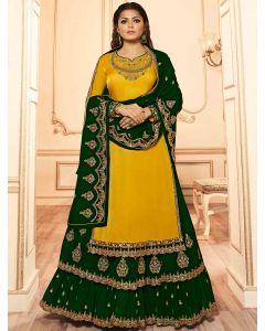 Drasti Dhami Yellow Georgette Satin Embroidered Designer Lehenga Suit with Cutwork Border