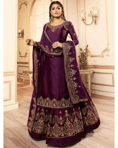 Drasti Dhami Wine Purple Georgette Satin Straight Cut Embroidered Designer Lehenga Suit