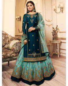 Drasti Dhami Prussian Blue Georgette Satin Floral Embroidered Straight Cut Designer Lehenga Suit