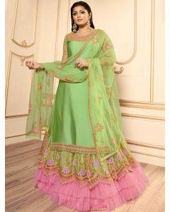 Drasti Dhami Green Georgette Satin Embroidered Straight Cut Designer Lehenga Suit with Cutwork Border