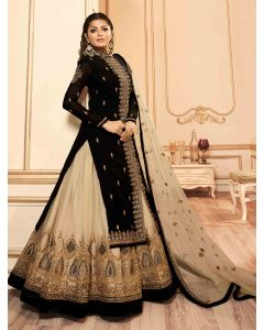 Drasti Dhami Black Georgette Floral Embroidered Straight Cut Designer Lehenga Suit with High Neck