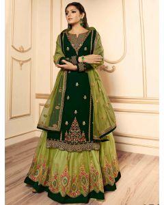 Drasti Dhami Dark Green Georgette Multi Colored Floral Embroidered Designer Straight Cut Lehenga Suit
