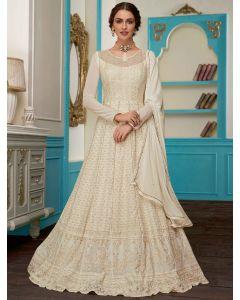 Off White Georgette Designer All Over Lakhnavi Worked Anarkali Suit