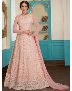Baby Pink Georgette Designer All Over Lakhnavi Worked Anarkali Suit