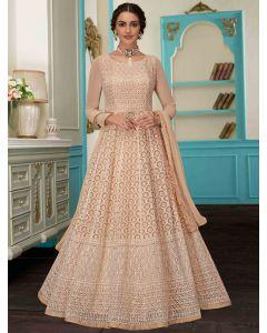 Beige Georgette Designer All Over Lakhnavi Worked Anarkali Suit