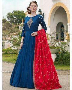Blue Silk Embroidered Designer Anarkali Suit