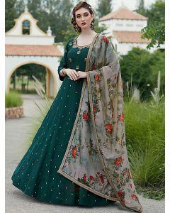 Dark Green Silk Embroidered Designer Anarkali Suit
