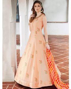 Peach Silk Floral Embroidered Designer Anarkali Suit