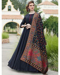 Navy Blue Silk Plain Designer Anarkali Suit