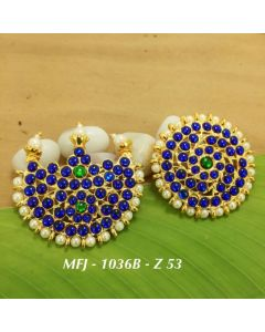 Temple Blue And Green Kempu Stone Sun & Moon Dance Jewelry