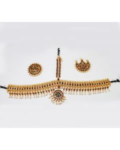 Temple Jewelry Mang Tikka Cutti White Stone Pearl Kemp Stones Bharatanatyam Jewelryonline