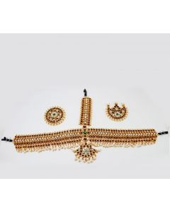 Temple Jewelry Mang Tikka Cutti White Stone Pearl Kemp Stones Bharatanatyam Jewelry online