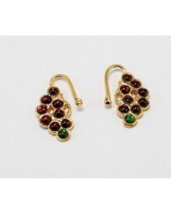Kempu  and Green stone Nose Ring Nath Bullak Bharatanatyam Dance Ornaments